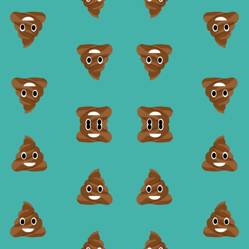 poop emoji cute funny fabric teal