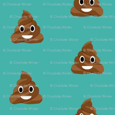 poop emoji cute funny fabric teal