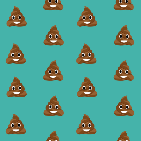 poop emoji cute funny fabric teal fabric by charlottewinter on Spoonflower - custom fabric
