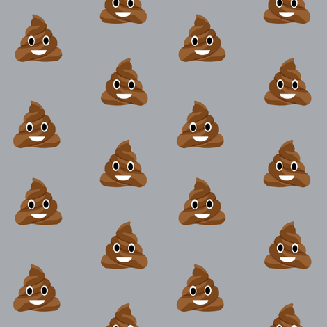 poop emoji cute funny fabric grey fabric by charlottewinter on Spoonflower - custom fabric