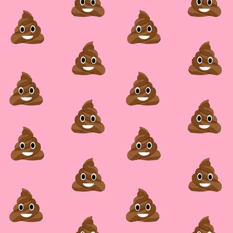 poop emoji cute funny fabric med pink fabric by charlottewinter on Spoonflower - custom fabric