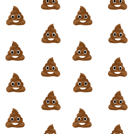 poop emoji cute funny fabric white fabric by charlottewinter on Spoonflower - custom fabric