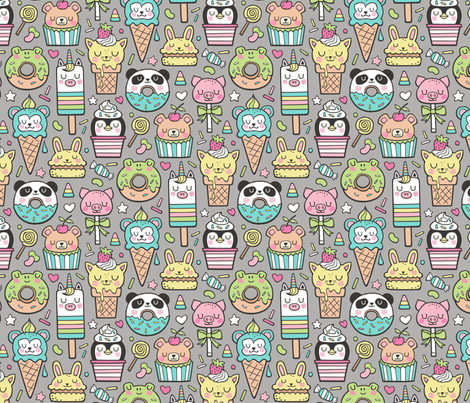 Animals Sweets Candy Ice Cream & Donuts on Dark Grey fabric by caja_design on Spoonflower - custom fabric