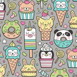 Animals Sweets Candy Ice Cream & Donuts on Dark Grey