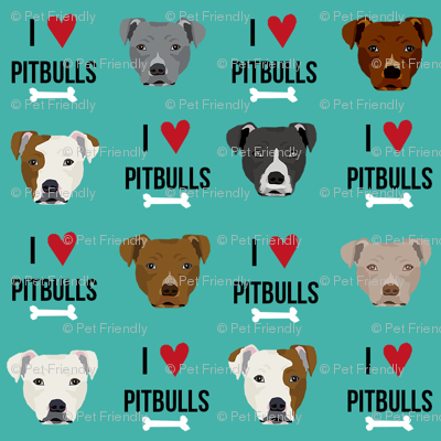 pitbull love dog breed fabric teal