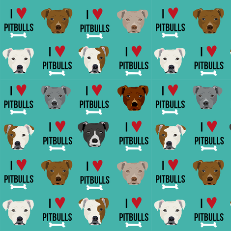 pitbull love dog breed fabric teal fabric by petfriendly on Spoonflower - custom fabric