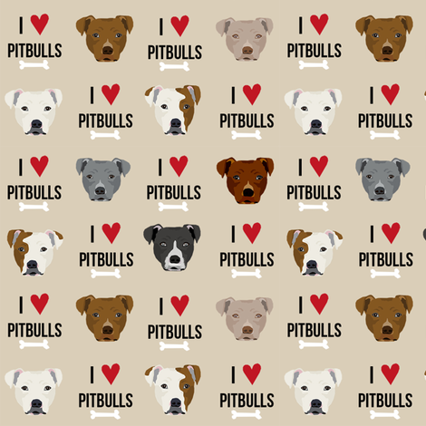 pitbull love dog breed fabric tan fabric by petfriendly on Spoonflower - custom fabric
