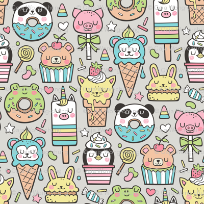 Animals Sweets Candy Ice Cream & Donuts on Grey