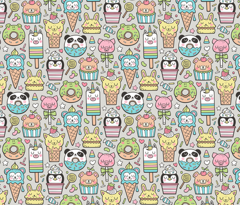 Animals Sweets Candy Ice Cream & Donuts on Grey fabric by caja_design on Spoonflower - custom fabric