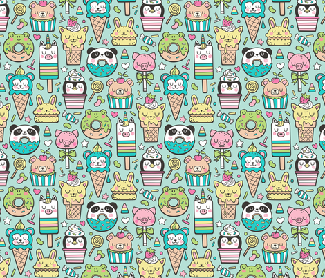 Animals Sweets Candy Ice Cream & Donuts on Mint Green fabric by caja_design on Spoonflower - custom fabric
