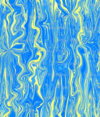 BFM26 - Yellow and Blue Butterfly Marble Brocade