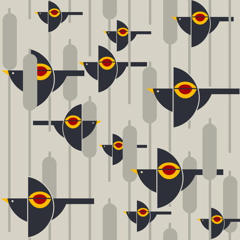 Flight of the Bauhaus Blackbirds on greige fabric by agregorydesigns on Spoonflower - custom fabric