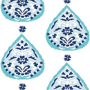 Aqua teal navy lotus medallion