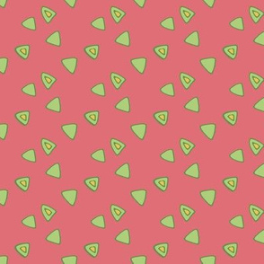 Birds in the sky - Green triangle dusky pink