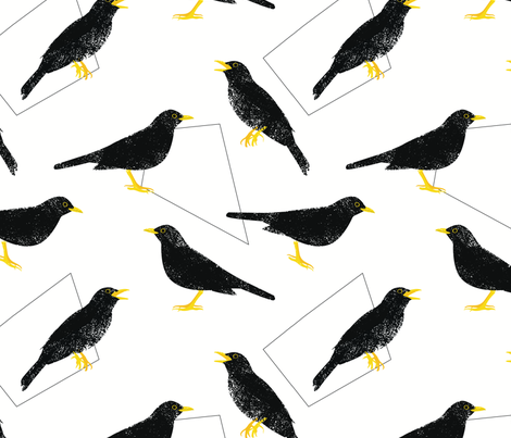 Common blackbirds and geometric shapes fabric by dariamaria on Spoonflower - custom fabric