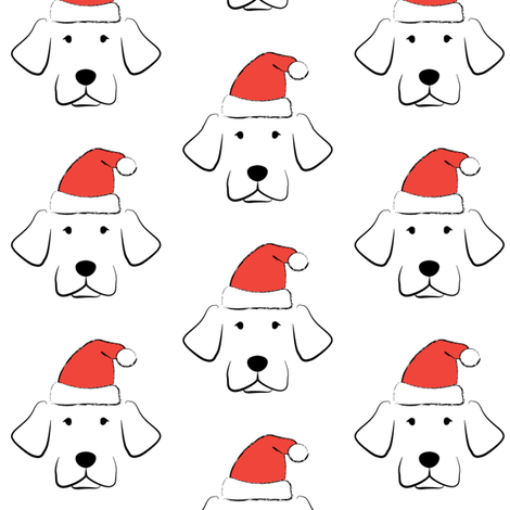 puppy-dogs-with-santa-hats fabric by lilcubby on Spoonflower - custom fabric