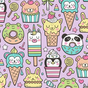 Animals Sweets Candy Ice Cream & Donuts on Light Lilac Purple