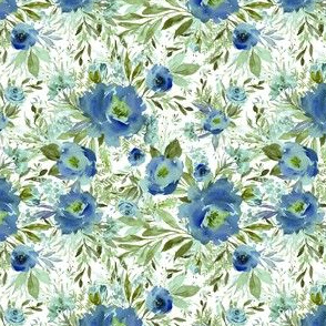 "4"" Blue Meadow Florals - Blue"