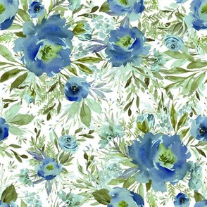"8"" Blue Meadow Florals - Blue"