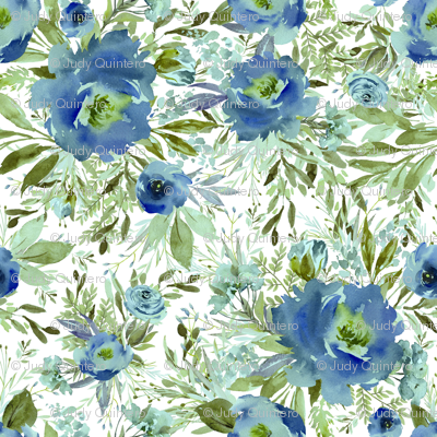 "36"" Blue Meadow Florals - Blue"