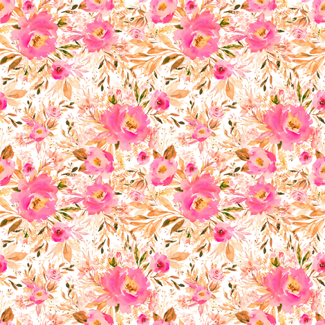 "4"" Faded Pink Meadow Florals fabric by shopcabin on Spoonflower - custom fabric"