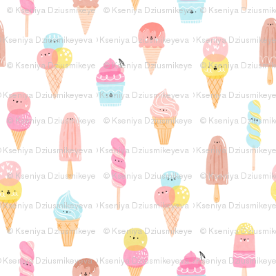 Cute ice cream characters pattern