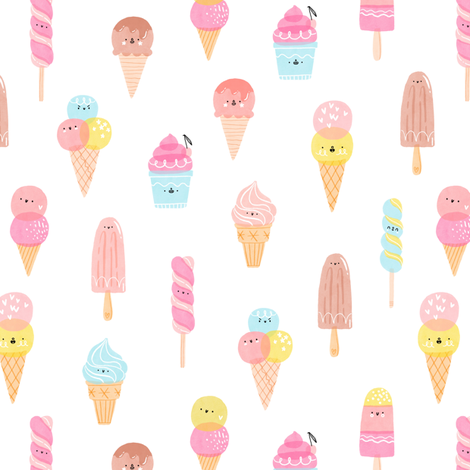 Cute ice cream characters pattern fabric by stolenpencil on Spoonflower - custom fabric