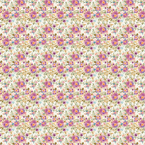 """1.5"""" Lilac Blue Meadow Florals fabric by shopcabin on Spoonflower - custom fabric"""