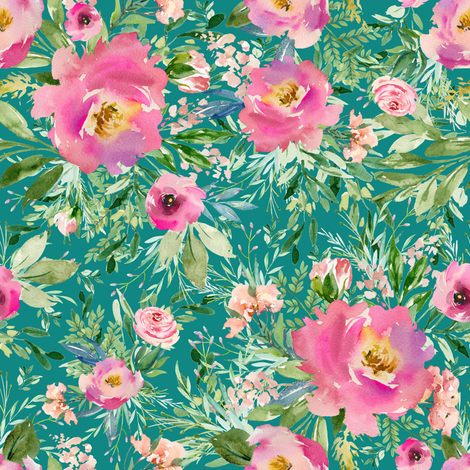 "8"" Pink Meadow Florals - Aqua fabric by shopcabin on Spoonflower - custom fabric"