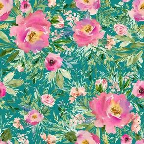 """8"""" Pink Meadow Florals - Aqua"""