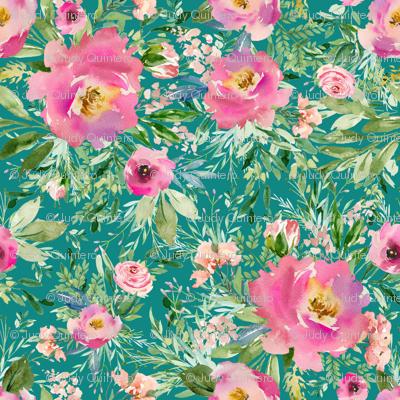 """36"""" Pink Meadow Florals - Aqua"""