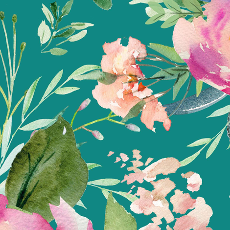 "36"" Pink Meadow Florals - Aqua fabric by shopcabin on Spoonflower - custom fabric"