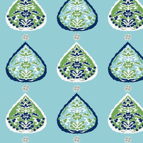 lotus aqua teal navy two tone green navy fabric