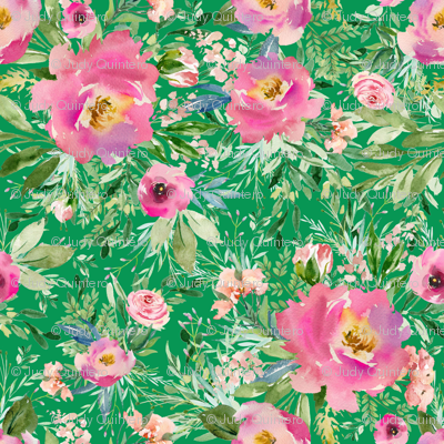 "8"" Pink Meadow Florals - Green"