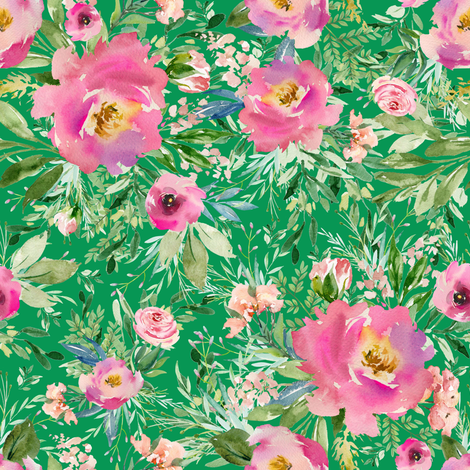 "8"" Pink Meadow Florals - Green fabric by shopcabin on Spoonflower - custom fabric"