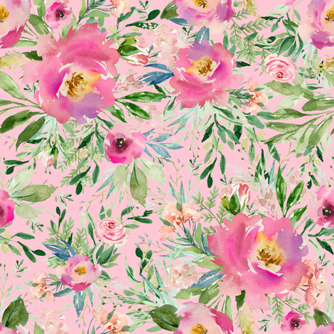 """8"""" Pink Meadow Florals - Pink fabric by shopcabin on Spoonflower - custom fabric"""