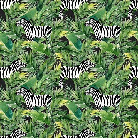 "4"" Zebra with Leaves - Charcoal fabric by shopcabin on Spoonflower - custom fabric"