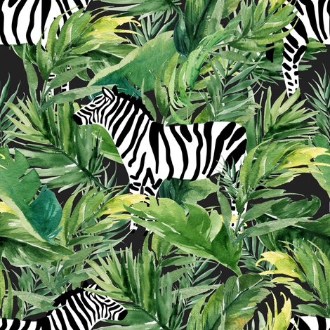 """8"""" Zebra with Leaves - Charcoal fabric by shopcabin on Spoonflower - custom fabric"""