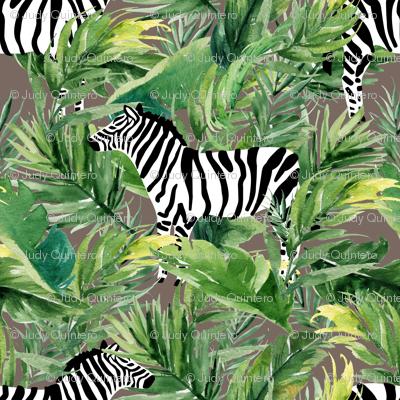 """8"""" Zebra with Leaves - Dark Tan"""
