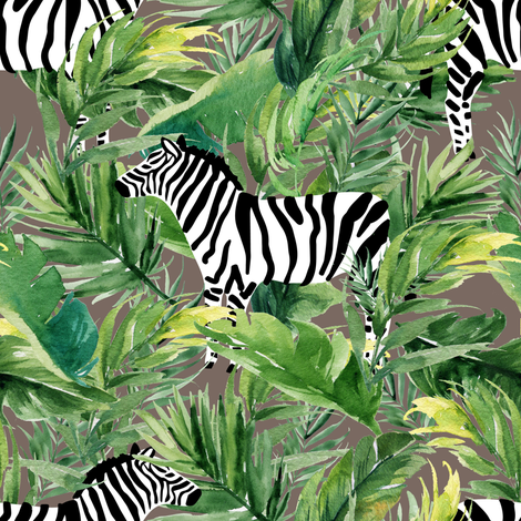 "8"" Zebra with Leaves - Dark Tan fabric by shopcabin on Spoonflower - custom fabric"