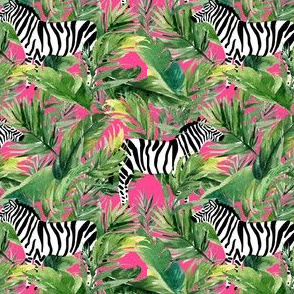 "4"" Zebra with Leaves - Fuchsia"