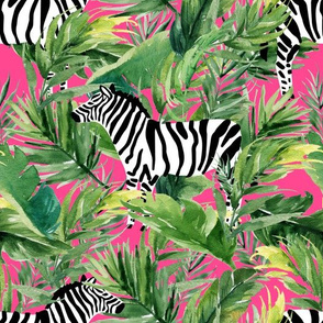 "10.5"" Zebra with Leaves - Fuchsia"