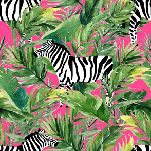 "21"" Zebra with Leaves - Fuchsia"