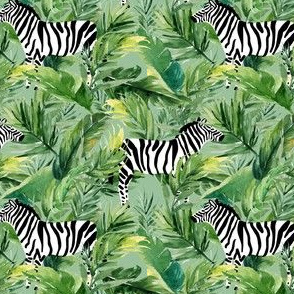 "4"" Zebra with Leaves - Green"
