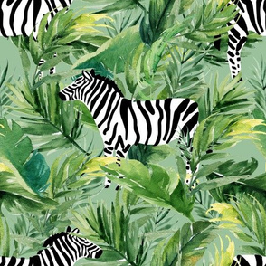 "10.5"" Zebra with Leaves - Green"