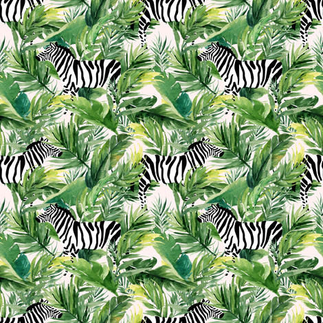 """4"""" Zebra with Leaves - Ivory fabric by shopcabin on Spoonflower - custom fabric"""