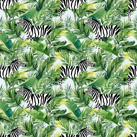 "4"" Zebra with Leaves - Light Blue fabric by shopcabin on Spoonflower - custom fabric"
