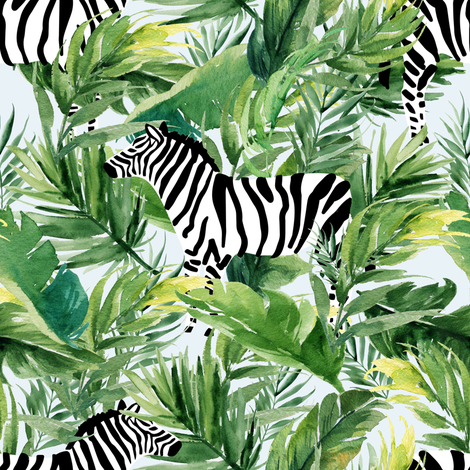 """8"""" Zebra with Leaves - Light Blue fabric by shopcabin on Spoonflower - custom fabric"""