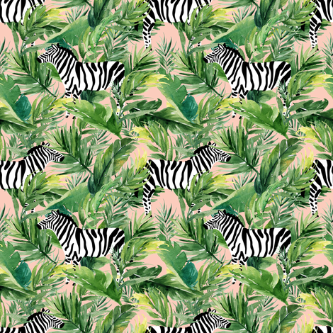 "4"" Zebra with Leaves - Peach fabric by shopcabin on Spoonflower - custom fabric"