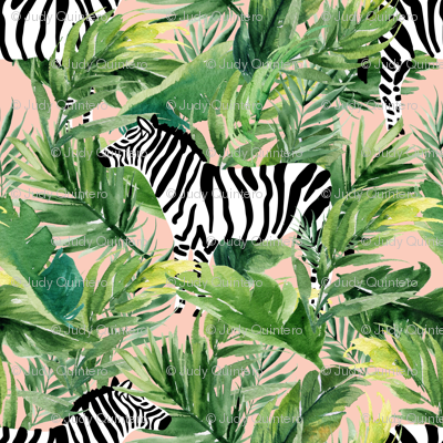 """8"""" Zebra with Leaves - Peach"""